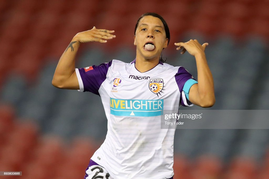Samantha Kerr of Perth Glory celebrates a goal during the round eight W-League match between the Newcastle Jets and the Perth Wildcats at McDonald Jones Stadium on December 16, 2017 in Newcastle, Australia.