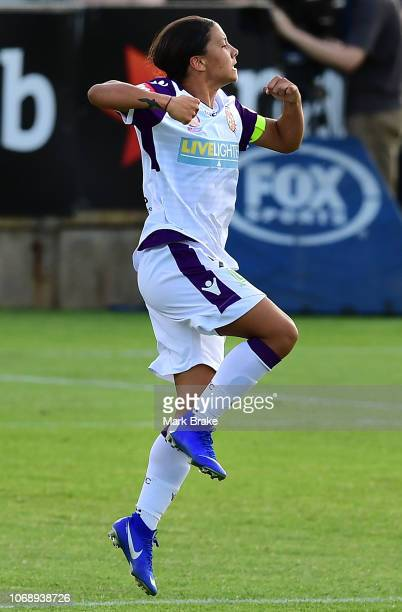 Samantha Kerr of Perth Glory celebrates after scoring her teams second goal during the round six WLeague match between Adelaide United and the Perth...