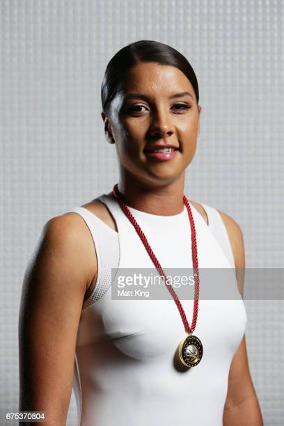 Samantha Kerr of Perth Glory FC poses with the Julie Dolan Medal during the FFA Dolan Warren Awards at The Star on May 1 2017 in Sydney Australia