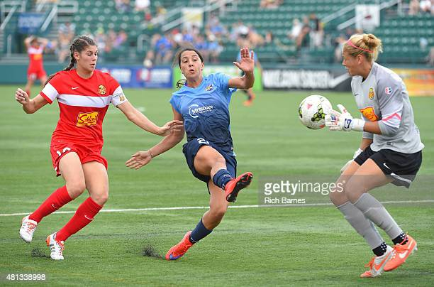 Samantha Kerr of Sky Blue FC takes a shot between Brittany Taylor and Chantel Jones of Western New York Flash during the second half at Sahlen's...