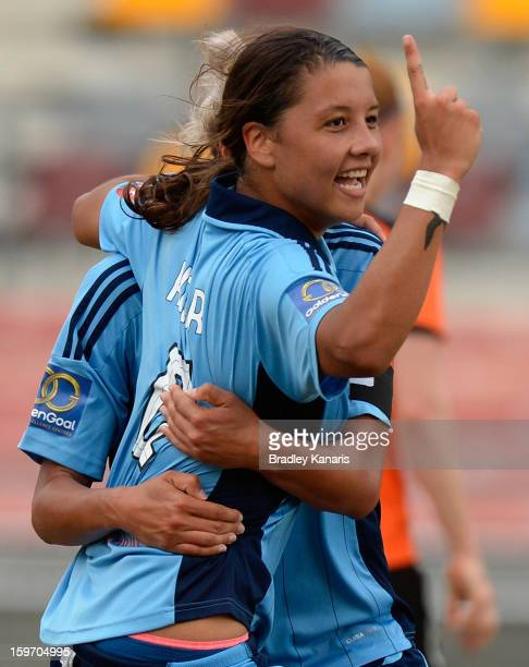 Samantha Kerr of Sydney celebrates after scoring a goal during the WLeague Semi Final match between the Brisbane Roar and Sydney FC at Queensland...