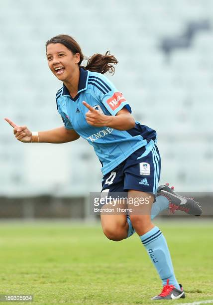 Samantha Kerr of Sydney celebrates after scoring Sydney's second goal against the Wanderers during the round 12 WLeague match between the Western...