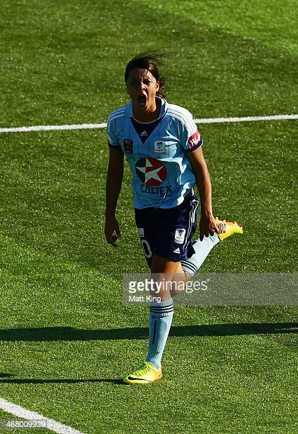 Samantha Kerr of Sydney FC celebrates scoring a goal during the round 12 WLeague match between Sydney FC and Canberra United at WIN Jubilee Stadium...