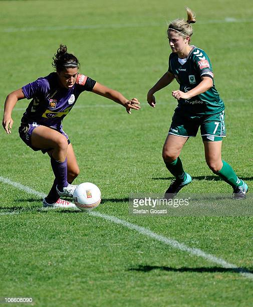 Samantha Kerr of the Glory and Ellie Brush of Canberra compete for the ball during the round one WLeague match between the Perth Glory and Canberra...