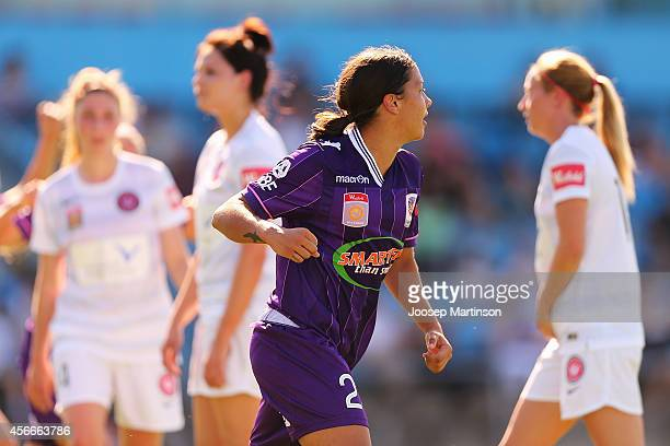 Samantha Kerr of the Glory celebrates a goal during the round four WLeague match between Western Sydney and Perth Glory at Marconi Stadium on October...