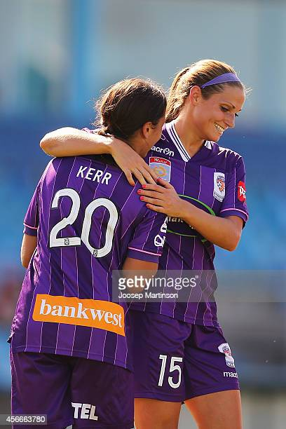 Samantha Kerr of the Glory celebrates a goal with teammates during the round four WLeague match between Western Sydney and Perth Glory at Marconi...