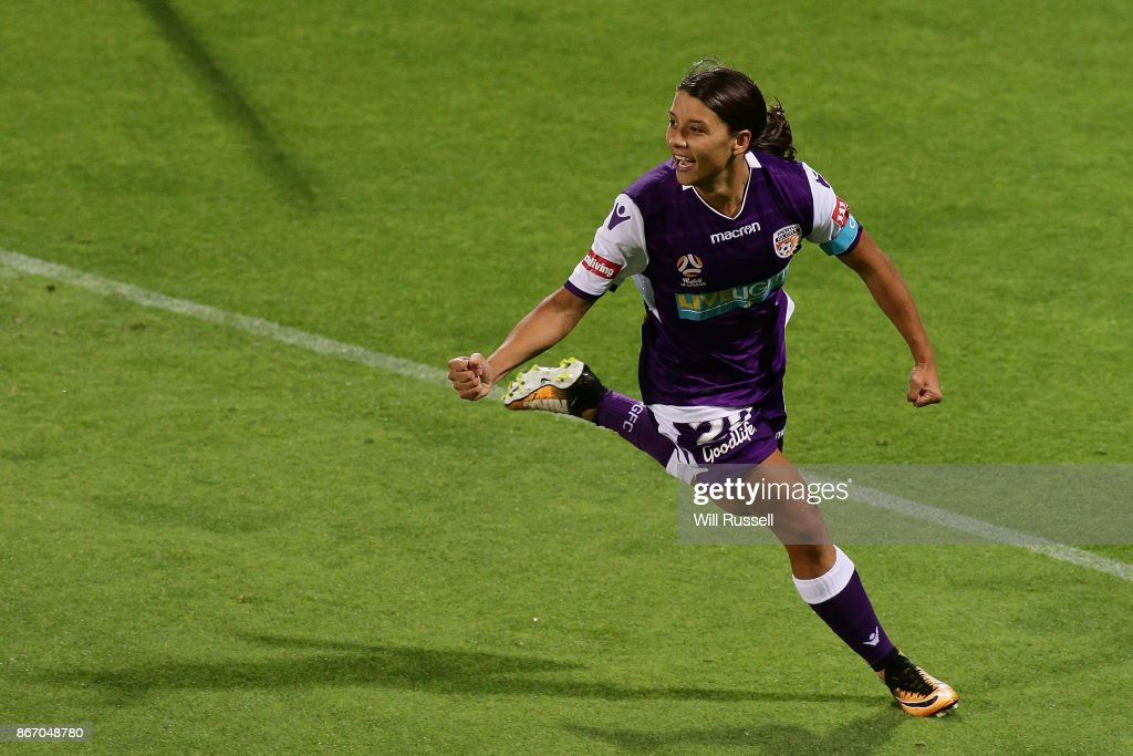 Samantha Kerr of the Glory celebrates after scoring a goal during the round one W-League match between the Perth Glory and Melbourne City FC at nib Stadium on October 27, 2017 in Perth, Australia.