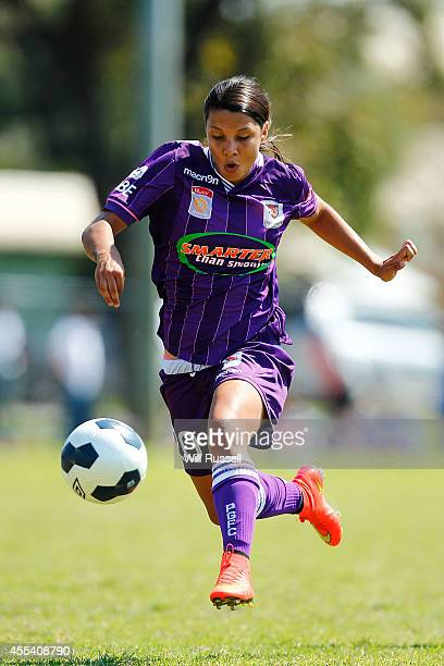Samantha Kerr of the Glory controls the ball during the round one WLeague match between the Perth Glory and the Brisbane Roar at Ashfield Sports Club...