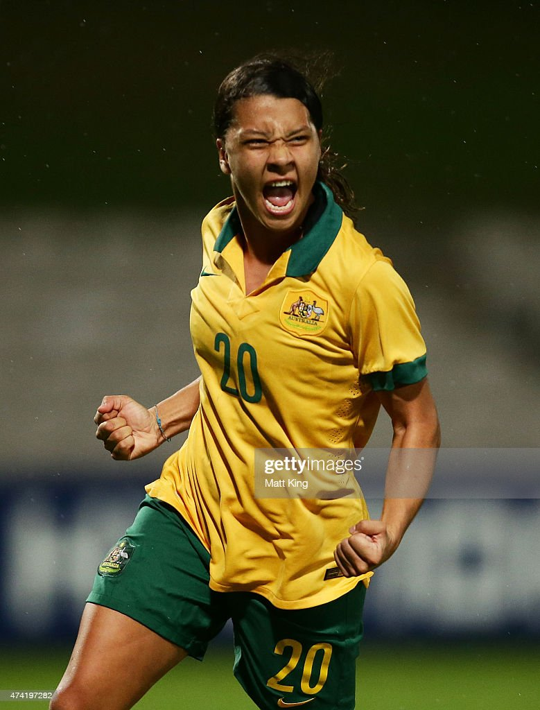 Samantha Kerr of the Matildas celebrates scoring a goal during the international women's friendly match between the Australian Matildas and Vietnam at WIN Jubilee Stadium on May 21, 2015 in Sydney, Australia.