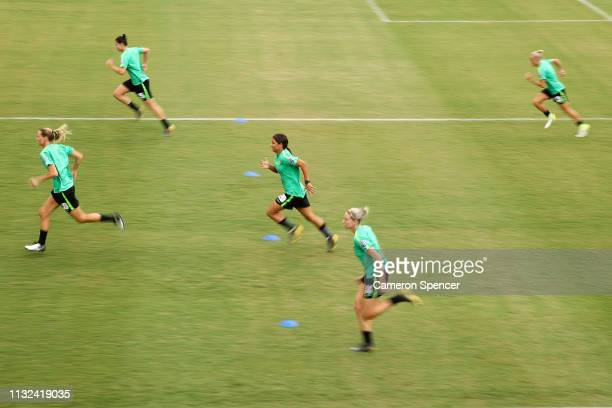 Samantha Kerr of the Matildas participates in a drill during an Australian Matildas training session at Leichhardt Oval on February 27 2019 in Sydney...