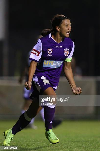Samantha Kerr of the Perth Glory celebrates a goal during the round three WLeague match between Perth Glory and the Western Sydney Wanderers at...