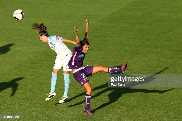 Samantha Kerr of the Perth Glory pleads with Referee Kate Jacewicz after being man handled by Lauren Barnes of Melbourne City during the 2017 WLeague...