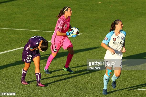 Samantha Kerr of the Perth Glory reacts after missed shot on goal during the 2017 WLeague Grand Final match between the Perth Glory and Melbourne...