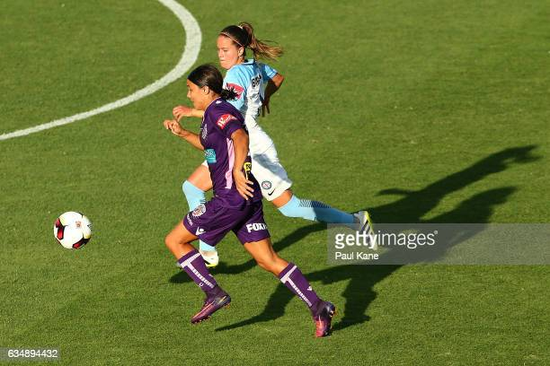 Samantha Kerr of the Perth Glory runs onto the ball during the 2017 WLeague Grand Final match between the Perth Glory and Melbourne City FC at nib...