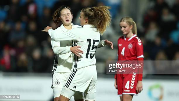 Samantha Kuehne of Germany celebrate after her first goal with Emilie Bernhardt during the U16 Girls international friendly match betwwen Denmark and...