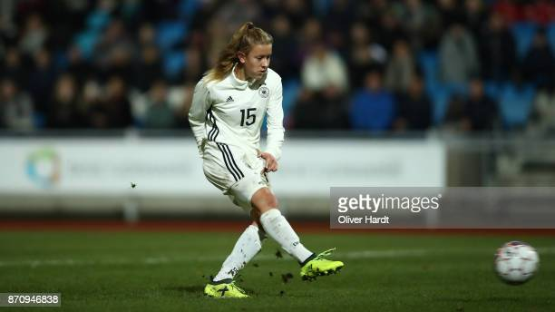 Samantha Kuehne of Germany scores her first goal during the U16 Girls international friendly match betwwen Denmark and Germany at the Skive Stadion...