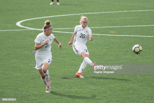 Samantha Kuhne and Sophie Krall of Germany in action during the Germany U16 Girl's v Sweden U16 Girl's Nordic Cup on July 6 2018 in Hamar Norway