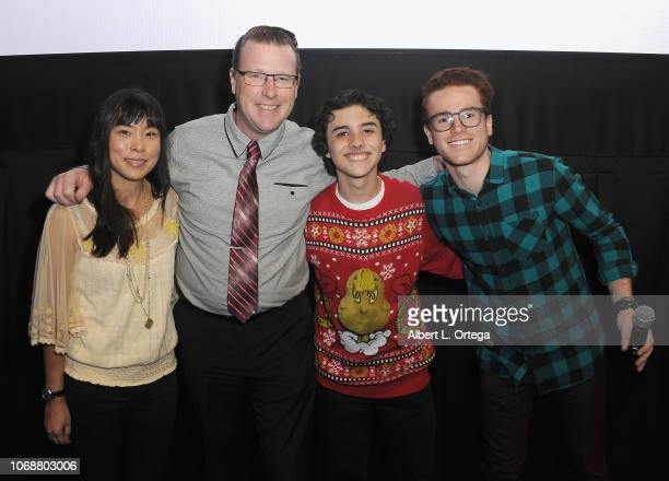 Samantha Leon Kent Cromwell Hunter Payton and Justin Tinucci pose at Hunter Payton And The Shoe Crew Holiday Charity Fundraiser Screening of...