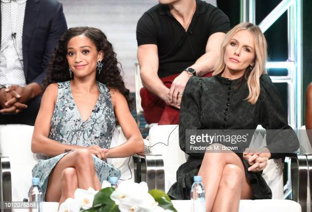 Samantha Logan and Monet Mazur from All American speak onstage at the CW Network portion of the Summer 2018 TCA Press Tour at The Beverly Hilton...