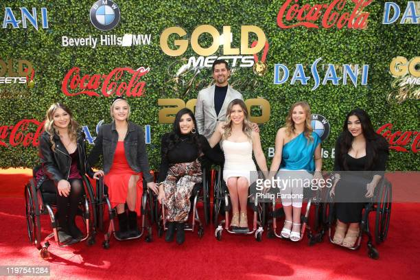 Samantha Lopez Conner Lundius Edna Serrano Chelsie Hill Catherine Elliott and Steph Aiello of The Rollettes dance team attend GOLD MEETS GOLDEN 2020...