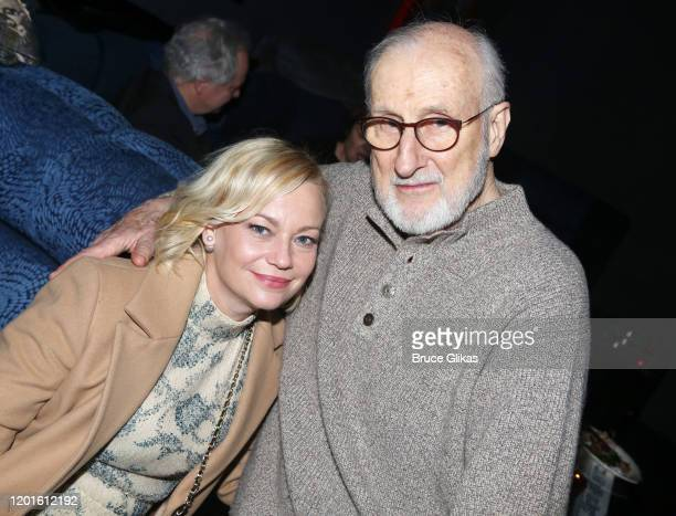 Samantha Mathis and James Cromwell pose at the opening night after party for the new Second Stage play Grand Horizons on Broadway at The Ribbon on...