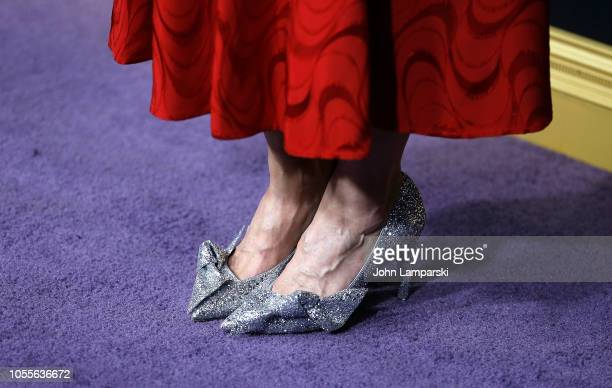 Samantha Mathis shoe detail attends Bohemian Rhapsody New York premiere at The Paris Theatre on October 30 2018 in New York City