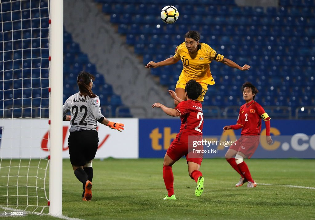 Samantha May Kerr of Australia attempts to score a goal during the AFC Women's Asian Cup Group B match between Vietnam and Australia at the Amman International Stadium on April 10, 2018 in Amman, Jordan.