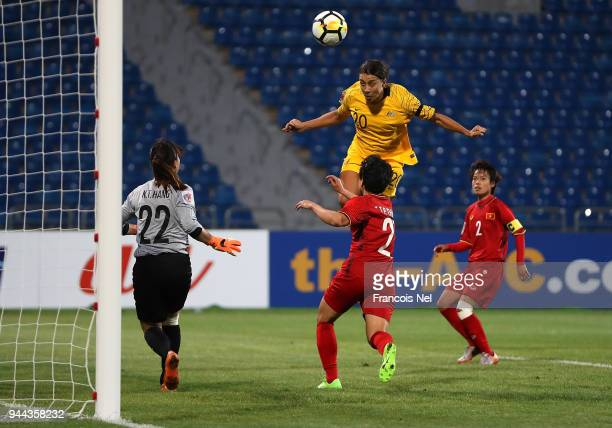 Samantha May Kerr of Australia attempts to score a goal during the AFC Women's Asian Cup Group B match between Vietnam and Australia at the Amman...