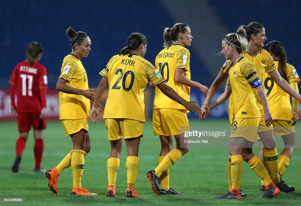Samantha May Kerr (no.20) of Australia celebrates with the team scoring the fifth goal during the AFC Women's Asian Cup Group B match between Vietnam and Australia at the Amman International Stadium on April 10, 2018 in Amman, Jordan.