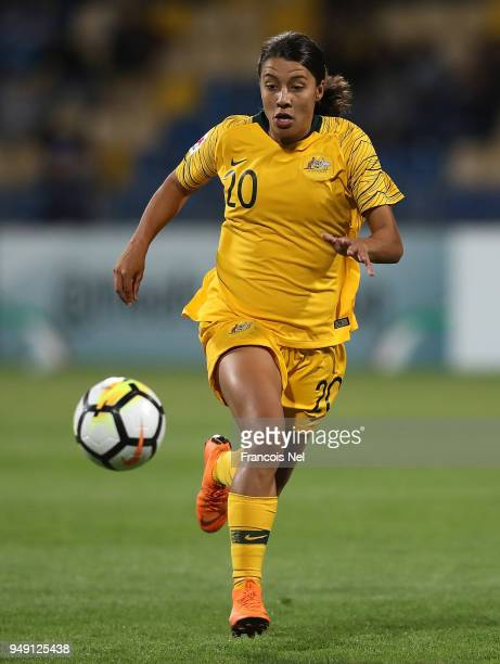 Samantha May Kerr of Australia in action during the AFC Women's Asian Cup final between Japan and Australia at the Amman International Stadium on...