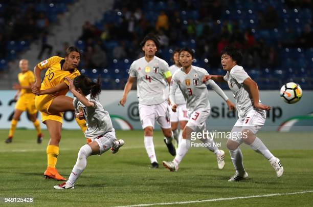Samantha May Kerr of Australia shoots on goal during the AFC Women's Asian Cup final between Japan and Australia at the Amman International Stadium...