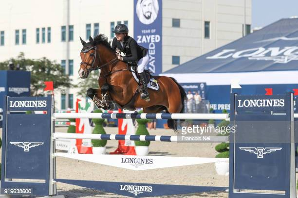 Samantha Mclntosh of New Zeland rides Check In during The President of the UAE Show Jumping Cup at Al Forsan on February 17 2018 in Abu Dhabi United...