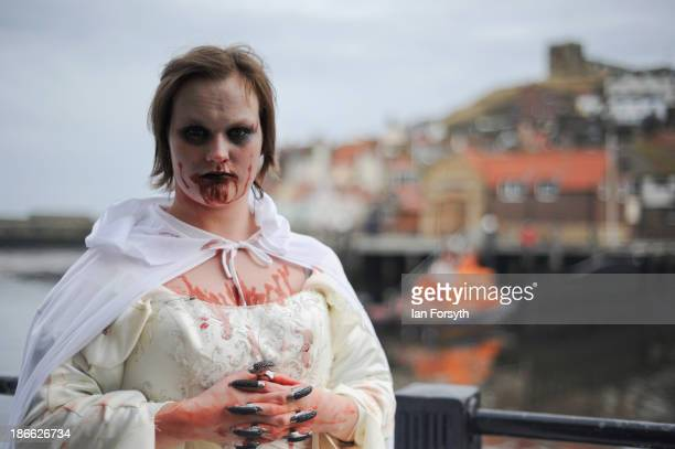Samantha Mercado 22 a waitress from York takes part in the Goth weekend on November 2 2013 in Whitby England The Whitby Gothic Weekend that takes...