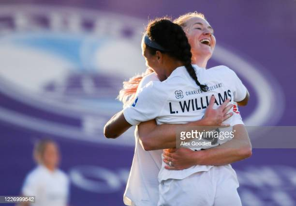 Samantha Mewis of North Carolina Courage hugs teammate Lynn Williams after scoring a goal during a game against the Sky Blue FC on day 8 of the NWSL...