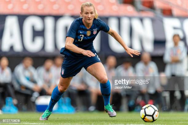 Samantha Mewis of the United States chases down a pass during the first half against China at FirstEnergy Stadium on June 12 2018 in Cleveland Ohio