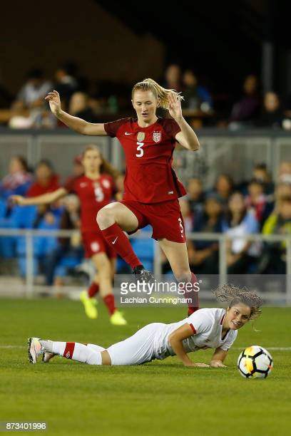 Samantha Mewis of the United States competes against Jessie Fleming of Canada during a friendly match at Avaya Stadium on November 12 2017 in San...