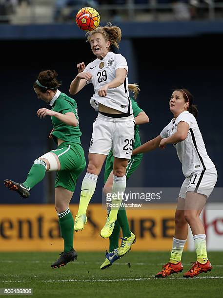 Samantha Mewis of the United States heads the ball against Ireland as the United States won 50 at Qualcomm Stadium on January 23 2016 in San Diego...