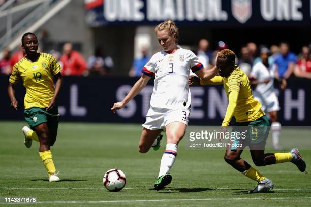 Samantha Mewis of the United States Noko Matlou of South Africa during an international friendly match between the womens national teams of the...