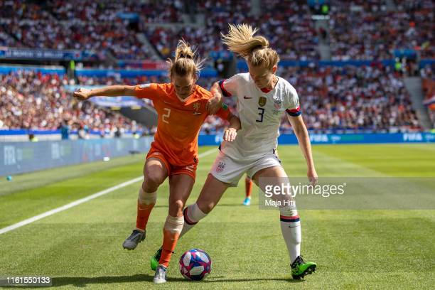 Samantha Mewis of the USA and Desiree van Lunteren of the Netherlands battle for possession during the 2019 FIFA Women's World Cup France Final match...