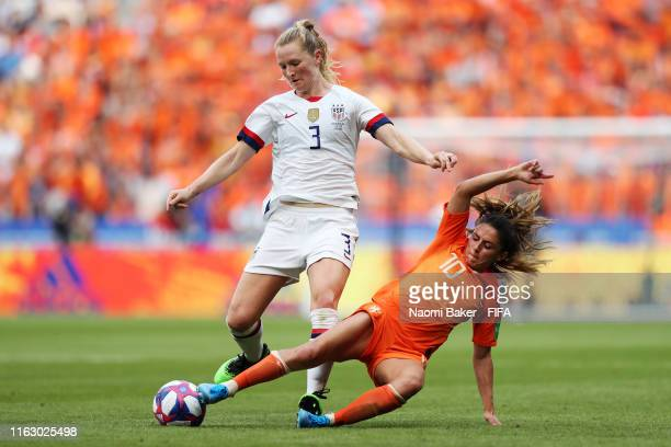 Samantha Mewis of the USA battles for possession with Danielle Van De Donk of the Netherlands during the 2019 FIFA Women's World Cup France Final...