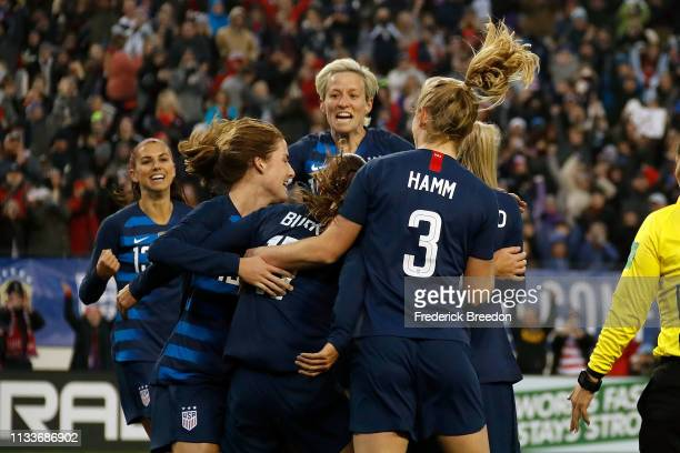 Samantha Mewis of the USA celebrates with teammates after a goal against England during the second half of the 2019 SheBelieves Cup match between USA...