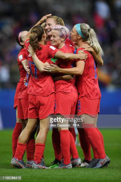 Samantha Mewis of the USA celebrates with teammates after scoring her team's fourth goal during the 2019 FIFA Women's World Cup France group F match...