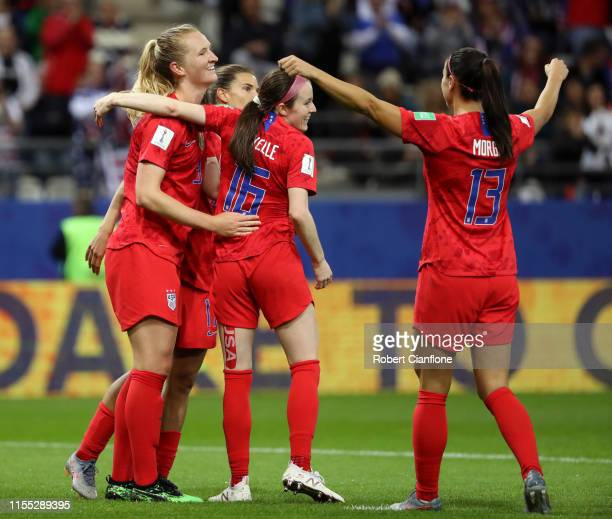 Samantha Mewis of the USA celebrates with teammates after scoring her team's sixth goal during the 2019 FIFA Women's World Cup France group F match...