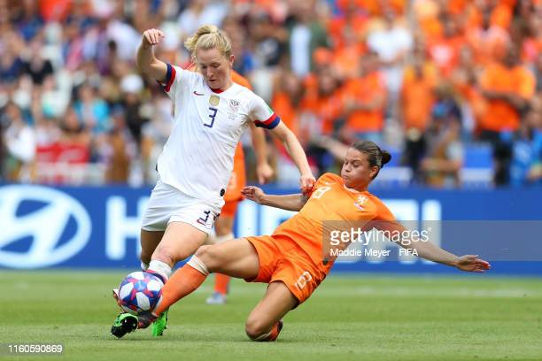 Samantha Mewis of the USA is challenged by Sherida Spitse of the Netherlands during the 2019 FIFA Women's World Cup France Final match between The...