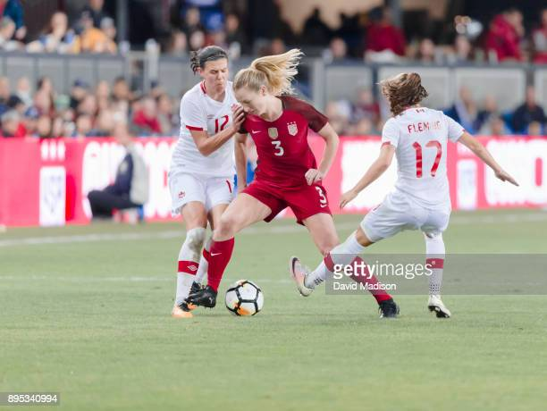Samantha Mewis of the USA plays in an international friendly against Canada on November 12 2017 at Avaya Stadium in San Jose California Defending are...