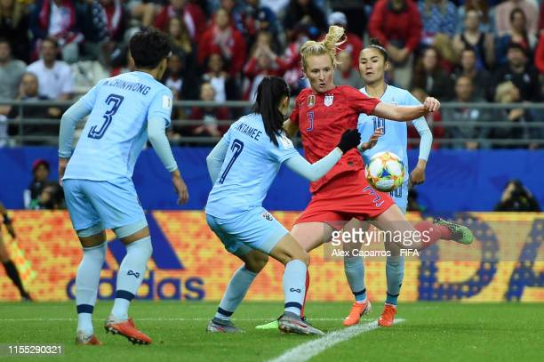 Samantha Mewis of the USA scores her team's sixth goal during the 2019 FIFA Women's World Cup France group F match between USA and Thailand at Stade...