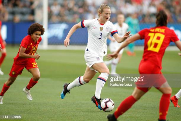 Samantha Mewis of United States Women's National Team takes the ball down the field during a game against the Belgian Women's National Team at Banc...