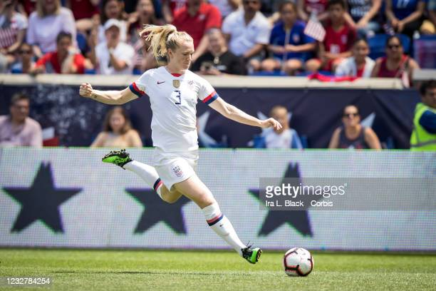 Samantha Mewis of Unites States clears the ball with stars behind her during the International Friendly match the US Women's National Team and Mexico...
