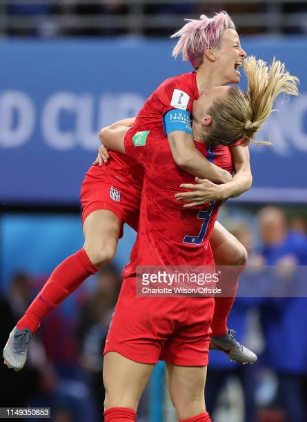 Samantha Mewis of USA celebrates scoring their 4th goal with Megan Rapinoe during the 2019 FIFA Women's World Cup France group F match between USA...