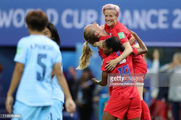 Samantha Mewis of USA celebrates scoring their 4th goal with Megan Rapinoe and Crystal Dunn during the 2019 FIFA Women's World Cup France group F...